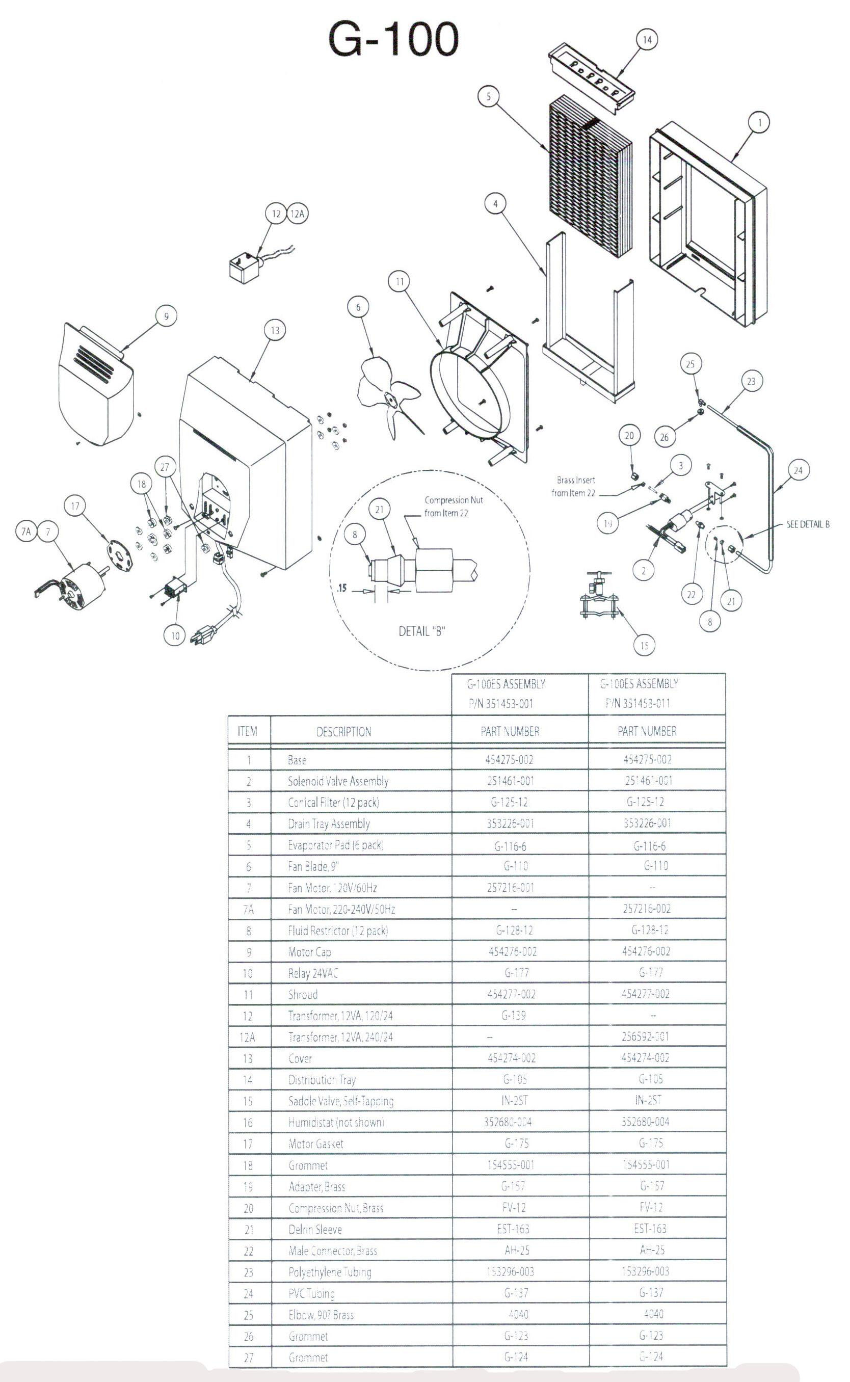 general 1040 humidifier parts diagram general pump parts diagrams rh parsplus co Light Switch Wiring Diagram Schematic Diagram